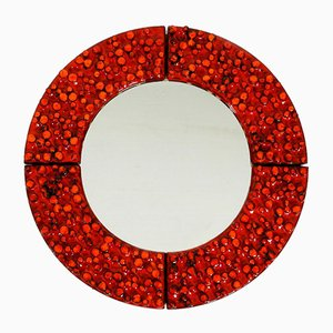 Mid-Century Wall Mirror with Heavy Ceramic Frame by Hans Welling for Ceramano, 1960s