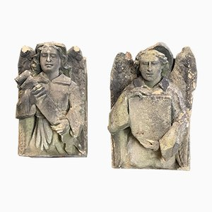 Antique Carved Stone Angels, Set of 2