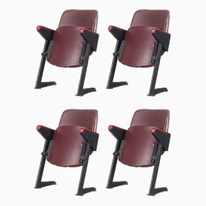 Model LV8 Cinema Armchairs with Leatherette Upholstery from Rima, 1950s, Set of 4