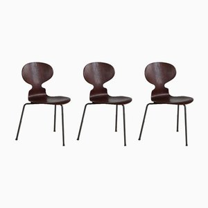 Danish Ant Dining Chairs by Arne Jacobsen for Fritz Hansen, 1960s, Set of 3