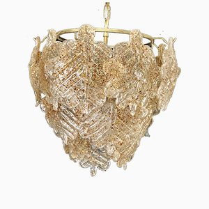 Amber Glass Chandelier from Mazzega, 1970s