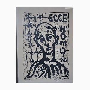 Ecce Homo, Mid-Century Handabzug Art Image, Lithograph Print
