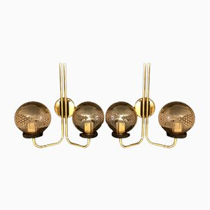 Globe Wall Sconces with Brass Structures, 1970s, Set of 2
