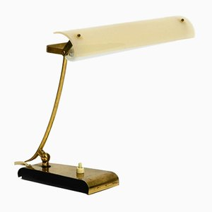 Mid-Century Modern Brass Desk Lamp with Plexiglass Lampshade, 1950s