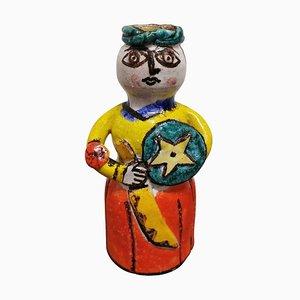 Mid-Century Multi-Colored Ceramic Sculpture on Italian Art Warrior by De Simone