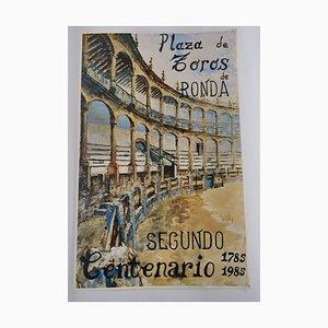 Vintage Stierkampfarena Plaza De Toros De Ronda Poster, Malaga, Spanien
