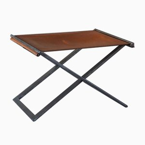 Folding Stool In Steel and Leather by Michael Christensen, 1990s