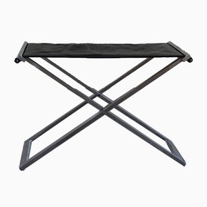 Folding Stool In Steel and Cognac Leather by Michael Christensen, 1990s