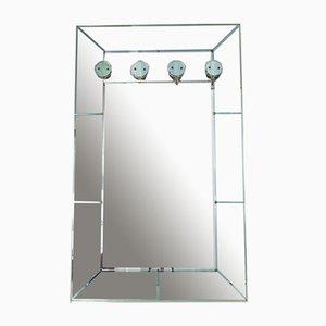 Wandregal mit türkisen Spiegeln und Glashaken, 1950er