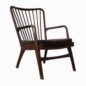 Danish Modern Sculptural Easy Chair In Beech, 1950s