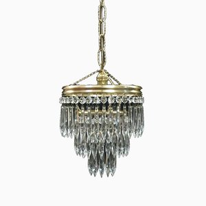 Italian Art Deco Three Tier Crystal Glass Chandelier, 1930s