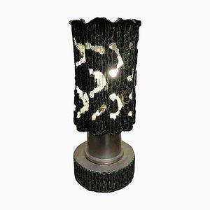 Brutalistische Mid-Century Tischlampe aus Zinn