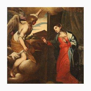 Antique Italian Painting Annunciation, 18th Century