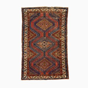 Vintage Red & Blue Tribal Zanjan Rug, 1950s