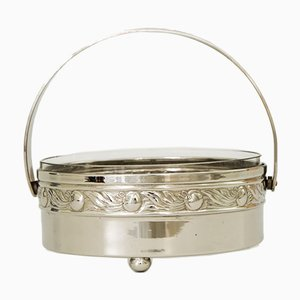 Art Deco Nickel-Plated Bowl with Cut Glass, Vienna, 1920s