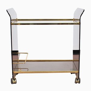 Curved Glass and Golden Brass Trolley by Umberto Mascagni, 1970s