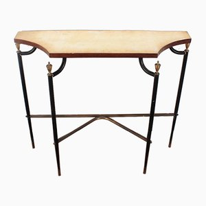 Black Metal, Brass and Marble Console Table from Maison Jansen, 1960s