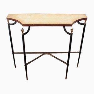 Table Console en Métal Noir, Laiton et Marbre de Maison Jansen, 1960s