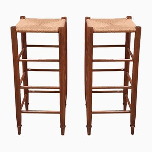 Mid-Century Barstools with Rush Seat, 1960s, Set of 2