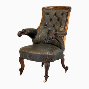 Carved Rosewood Armchair in Aged Leather
