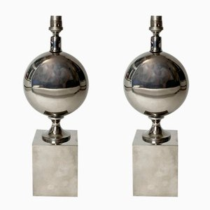 Mid-Century Egg-Shaped Table Lamps in Chrome Steel by Philippe Barbier, 1960s, Set of 2