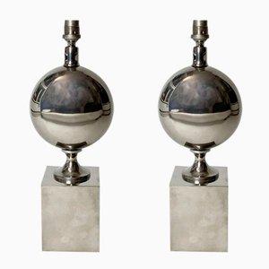 Mid-Century Eiförmige Tischlampen aus Chromstahl von Philippe Barbier, 1960er, 2er Set