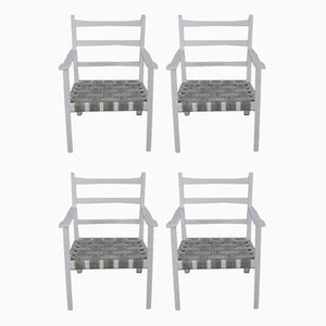 White-Painted Benches & Chair, 1960s, Set of 4