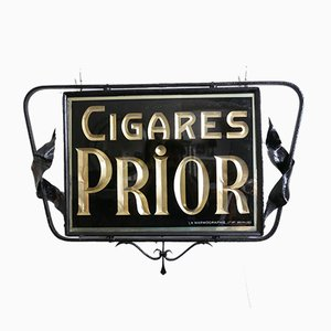 Vintage Double Sided Reverse Painted Cigar Hanging Advertising Sign