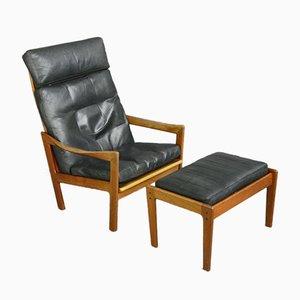 Lounge Chair & Ottoman by Illum Wikkelsø for Niels Eilersen, 1960s, Set of 2