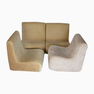 Chaise longues ajustables bajos sin brazos de pana y espuma, años 70, France. Juego de 4