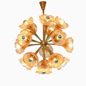 Lámpara de araña italiana Mid-Century de cristal de Murano floral, años 60