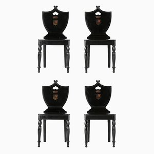 19th-Century English Ebonised Hall Side Chairs, Set of 4