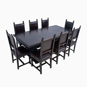 Antique Dining Chairs & Table, Set of 9