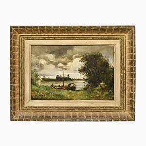 Antique Landscape Oil Painting, Nature Painting, River and Boat, 19th Century