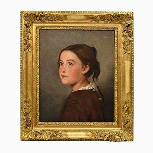 Antike Malerei, Portraitmalerei einer jungen Frau, Französisches Ölgemälde auf Leinwand, 19. Jahrhundert
