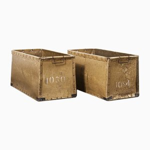 French Vulcanised Card Industrial Crates, 1950s, Set of 2