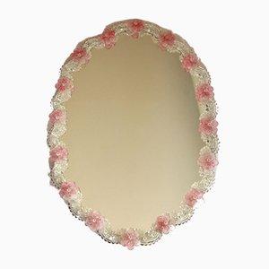Specchio Rose vintage rosa in vetro di Murano rosa, anni '40