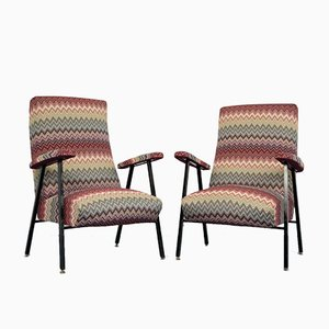 Vintage Missoni Fabric Lounge Chairs, 1960s, Set of 2