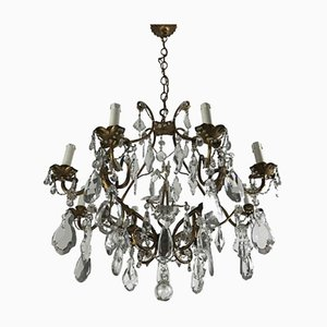 8-Light Chandelier in Gilded Leaf with Crystals, 1950s