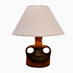 Table Lamp With Ceramic Stem In Orange and Brown & Creamy White Shade, 1970s