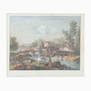 Incisione Francesco Zuccarelli, Landscape with a Bridge, 18th Century