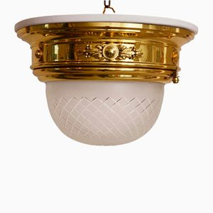 Ceiling Lamp with White Wood Plate & Cut Glass, 1902