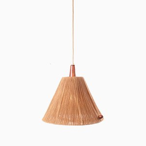 Teak and Sisal Ceiling Lamp from Temde, 1960s