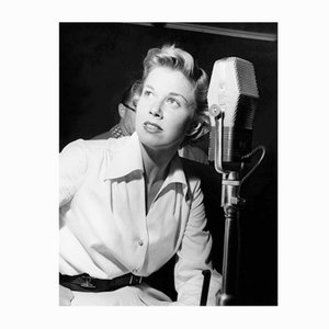 Doris Day in the Recording Studio Archival Pigment Print Framed in White by Everett Collection
