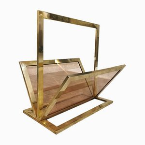 Mid-Century Brass & Glass Magazine Rack Attributed to Fontana Arte, 1960s