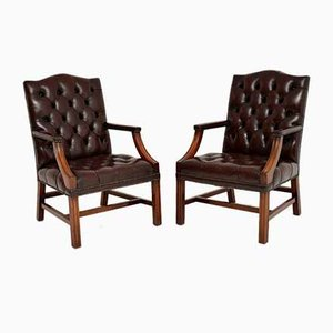 Deep Buttoned Leather Library Armchairs, 1950s, Set of 2