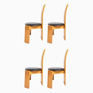 Vintage Wood and Leather Dining Chairs by Tobia & Afra Scarpa, Set of 4