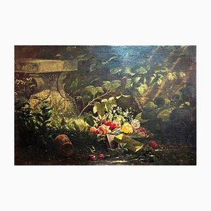 Still Life of Flowers and Branches, 19th Century, Oil on Canvas
