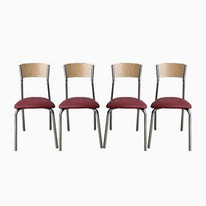 Mid-Century Chrome Stacking Dining Chairs, Set of 4