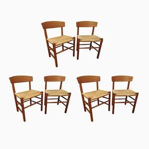 J39 People's Chairs aus Eiche & handgewebtem Sitz aus Papierkordel von Børge Mogensen, 6er Set
